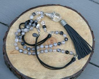 Black, White and Grey Tassel Necklace,  Black Tassel Necklace, Bohemian Necklace, Knotted Leather Corded Necklace, Tassel Necklace, Boho