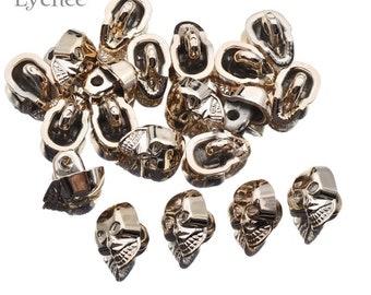 Gold Tone Skulls Head Skeleton Button Charm SG0430