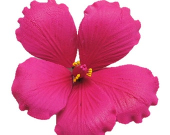 "3.5"" Gumpaste Hibiscus Hot Pink Flower - SET OF 3"