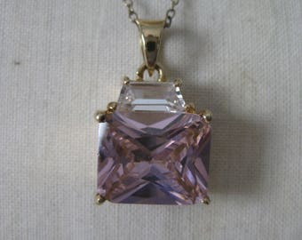 Pink Clear Crystal Stone Gold Sterling Necklace Vermeil Vintage 925 Silver Pendant