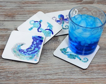 Sea Glass Art Coasters - Mix and Match - Seaglass Mosaics - Great for beach house, patio, hostess gifts, home, and office