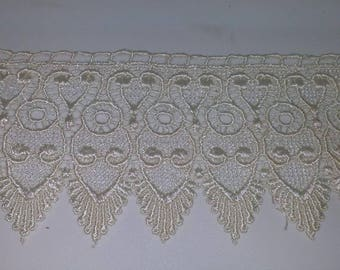 ecru scalloped lace, 7.7 cm, synthetic, lace, decorative, sewing, Venice