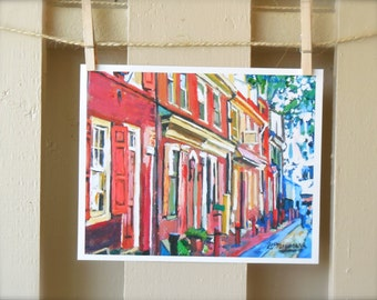 Philadelphia Painting. Philadelphia Art Print Old Town Painting, Elfreth's Alleys, Colonial America Red Cityscape Painting, Gwen Meyerson
