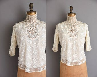 Very Rare 1910s antique heavy lace Edwardian blouse. antique lace blouse