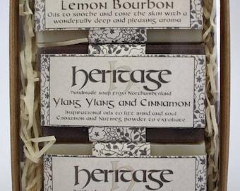 3 Soap bar gift set/box. Handmade natural Vegan Soap. No Additives. No SLS/Parabens. Artisan style Handmade Soap in a great value gift set.