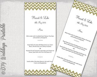 "Menu template -Gold Glitter DIY wedding menu -""Chevron"" digital printable menu YOU EDIT template - Word / Jpg instant download"