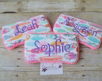 READY TO SHIP Bright and Colorful Feathers Travel Baby Wipe Case, Diaper Wipecase, Personalized Baby Shower Gift, Wipe Holder, Diaper Clutch