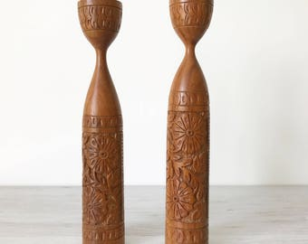 Vintage Pair of Carved Wooden Candlestick Holders