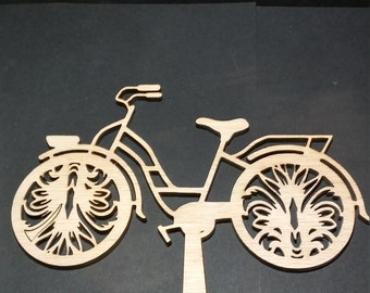 Laser Cut Wood Bicycle Cake Topper, birthday, wedding,anniversary