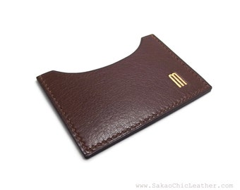 Monogrammed Chocolate Brown Leather Card Case, ID or Business Card Holder, your initials or name, Sakao on Etsy, Handmade in Montreal
