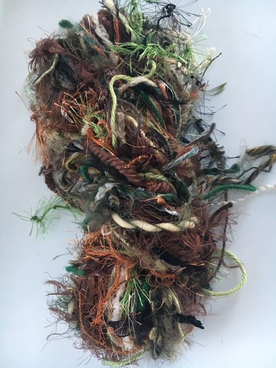 Hand Tied Art Yarn, Diva Skein, Custom Blend Scarf Skein Tied Yarn, 90 yards mixed fiber hand-tied novelty worsted yarn, fiber pack, crafts
