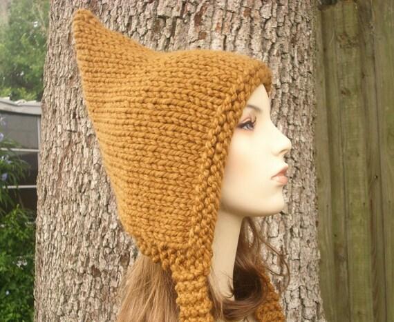 Knit Hat Brown Womens Hat - Brown Pixie Hat in Hazelnut Brown Knit Hat - Brown Hat Brown Ear Flap Hat Womens Accessories Winter Hat