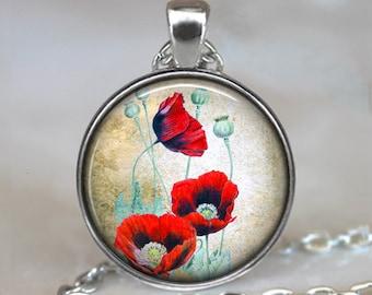 Oriental Poppies pendant, red poppy necklace, remembrance necklace, poppy art pendant, poppy keychain poppy key chain key ring key fob
