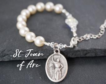 St Joan of Arc Pearl Rosary bracelet. Swarovski crystal cross prayer bracelet. Single decade Saint Joan of Arc Catholic Rosary Bracelet