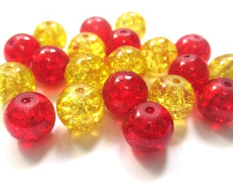 set of 20 Red and yellow Crackle 10 mm (E-34) glass beads