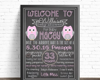 Pink Owl Baby Shower Chalkboard Sign / Printable Poster / Baby Shower Decorations / Nursery Decor / Pink Owls / Its a Girl Baby Sprinkle