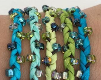 DIY Silk Wrap Bracelet or Silk Cord Kit DIY Bracelet DIY Craft Kit You Make Five Adult Friendship Bracelets in Caribbean Blue Green Palette