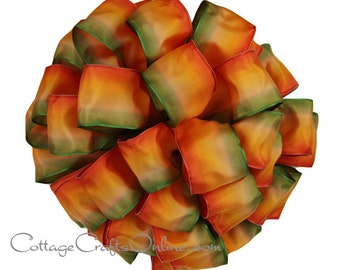 """Wired Ribbon, 1 1/2"""" , Ombre Orange, Yellow Gold and Green - THREE YARDS  - Offray """"Harvest"""" Gradient Watercolor Fall Wire Edged Ribbon"""