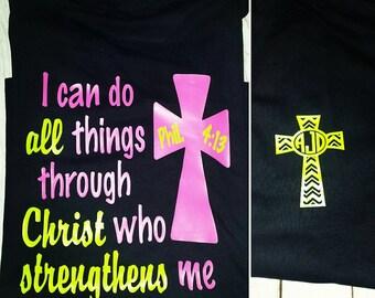I can Do all Things Through Christ who Strengthens Me Chevron Cross Monogram T Shirt