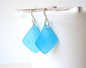 BLUE Sea Glass Earrings, Beach Glass Dangle Earrings, Sea Glass Drop Earrings, Sea Glass Jewelry, Beach Jewelry, Sea Glass Jewelry