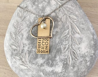 Deployment Necklace, Deployment Jewelry, Until You Come Home, Hand Stamped Jewelry, Military Jewelry, Military Necklace, Military Wife