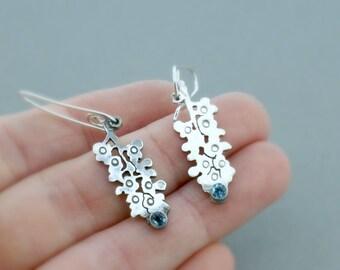 Bluebonnet Earrings - Something Blue - Silver Drops - Flower Earrings - Bluebonnet Flowers - Blue Bonnets - Bridal Jewelry