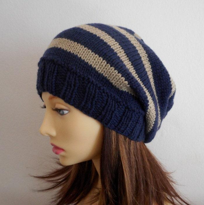 KNITTING PATTERN CAMPUS Hat/Striped Slouchy Beanie/Woman Stripe Hat ...