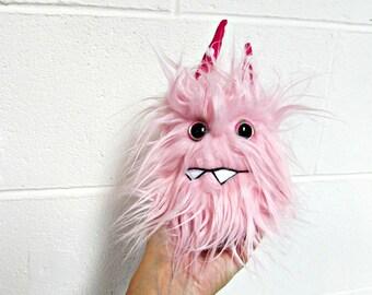 Monster Plush - Handmade Minor Monster Plushie - Soft Pink Faux Fur - OOAK Mini Monster - Small Monster Plush - Weird Monster Soft Toy Plush