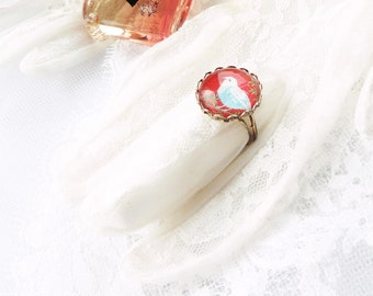 Romantic ring, glass cabochon ring, silver and red ring, bird ring,