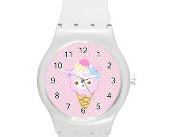 Alpacone Watch, Ice Cream Cone Watch, Kawaii Watch, Pastel Watch, WhiteWatch, Cute Watch, Fairy Kei Watch, Alpaca Watch, Sweets Watch