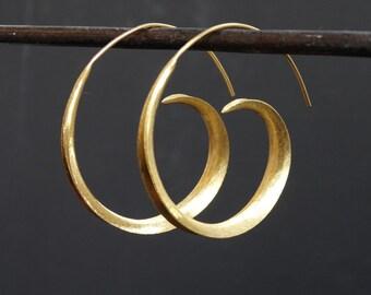 Gold Hoop Earrings, Gold Hoops, Swirl Hoop Earrings, Modern Earrings, Gold Vermeil
