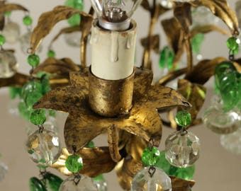 Italian vintage tole crystal chandelier, 1940s rare glass leaves, gilded chandelier, OOAK, free shipping