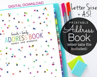 Address Book, Printable Pages, Planner Inserts, Contacts Pages,  Filofax A5, Kikki K large, Letter Size, Happy Planner, Discbound Planner