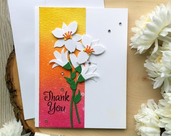 Handmade Thank You Card, Thank You Card, Thank You, Thanks Card, Lily, Flower Thank You Card, Handmade Card, Greeting Card, Thank You Cards