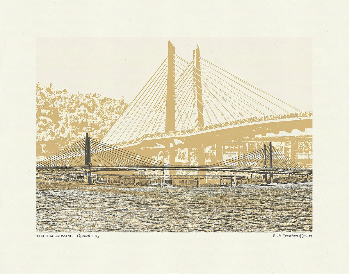 Portland Color Bridge Art prints // All 12 City Bridges // Art Print ...