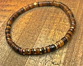 Mens Beaded Bracelet, beaded bracelet, mens jewelry, heishi bracelet, stretch bracelet, tribal bracelet