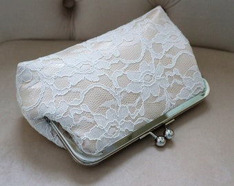 Bridal Silk And Lace Clutch Champagne,Bridal Accessories,Wedding Clutch,Bridal Clutch,Bridesmaid Clutches