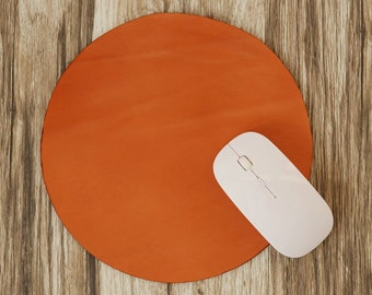 Leather Mouse Pad, Mouse Pad Round Circle, Leather Mouse Mat, Leathet Circle Mouse Pad, Hand Cut from Vegetable Tanned Leather