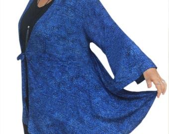 Plus Size Kimono Duster Cardigan, Women's Long Sleeve Blue Boho Jacket, Oversized Plus Size Clothing Kimono, One Plus Size (1x to 3x)