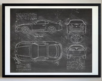 Car blueprint etsy toyota supra 1992 da vinci sketch supra art blueprint patent prints posters supra decor art car art cars 312 malvernweather Choice Image