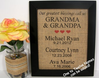 Personalized Gift For Grandma and Grandpa,Personalized Anniversary Gift For Grandparents,Our Greatest Blessings Call Us Grandma and Grandpa