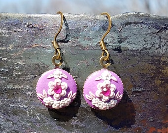 White and Purple Floral Polymer Earrings