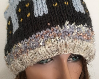 Hand Knits 2 Love Besnie Hst Cap Slouch Designer Fashion Buildings Houses Sky Scraoers Female Winter Ski Snow  Gift