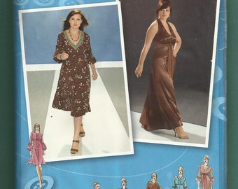 Simplicity 3541 Empire Waist Dresses with Flared Skirts Project Runway Inspired Sizes 26 - 32 W UNCUT