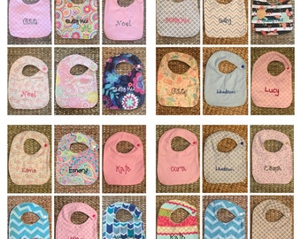 6 Personalized Bibs- Choose fabric!