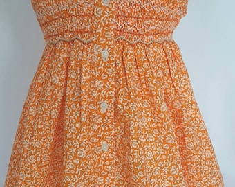 Beautiful Orange floral hand smocked dress - size 1, 2 and 3