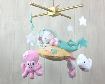 Baby mobile - mermaid mobile - ocean mobile - octopus - dolphin - whale - seahorse - baby mobiles - nautrical mobile - star mobile - mint