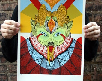 Fierce Cat of Existence - Original Silkscreen Art, Limited Edition Hand-pulled screen print