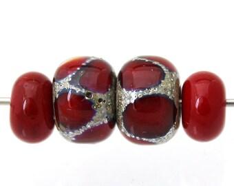 4 Red lampwork beads handmade - Small red glass beads Sea Rocks - Lampwork glass beads - Red donut bead pairs- Earring pairs