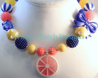 Sunny Citrus.. Chunky Royal Blue, Coral Pink and Yellow Toddler Bubblegum Necklace